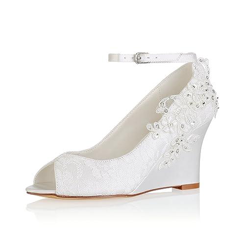 Emily Bridal Zapatos de Novia de Encaje Zapatos de Novia con Detalle de  Flores de Marfil Zapatos de Cuña de Detalle Zapatos de Novia con Correa de  Tobillo  ... e90c8d8022c
