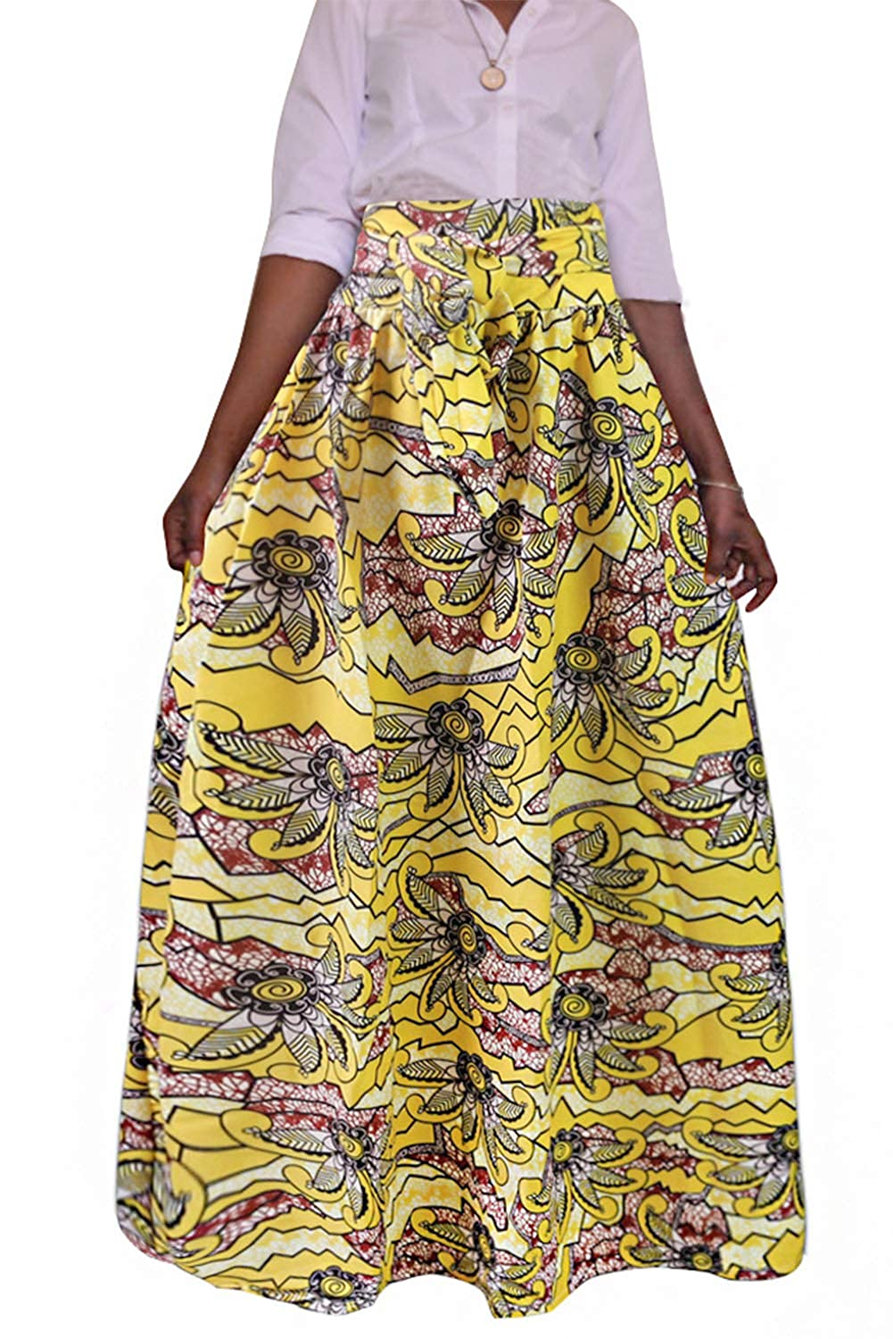 Tynora Women Fashion African Floral Print High Waist Pleated A-Line Maxi Long Skirt