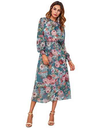 c81c368a24 Milumia Women s Floral Print Shirred Waist Bishop Sleeve Dress with Liner  Slip Long Dress Multicoloured-