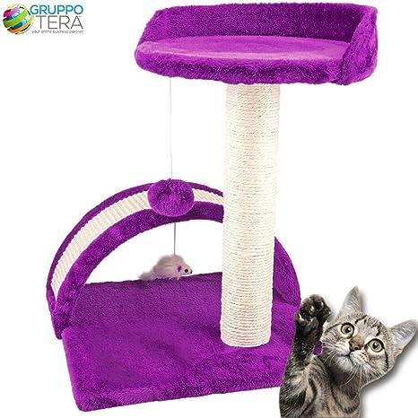Bakaji - Rascadores para gatos, color violeta, suave velboa con palo de sisal de