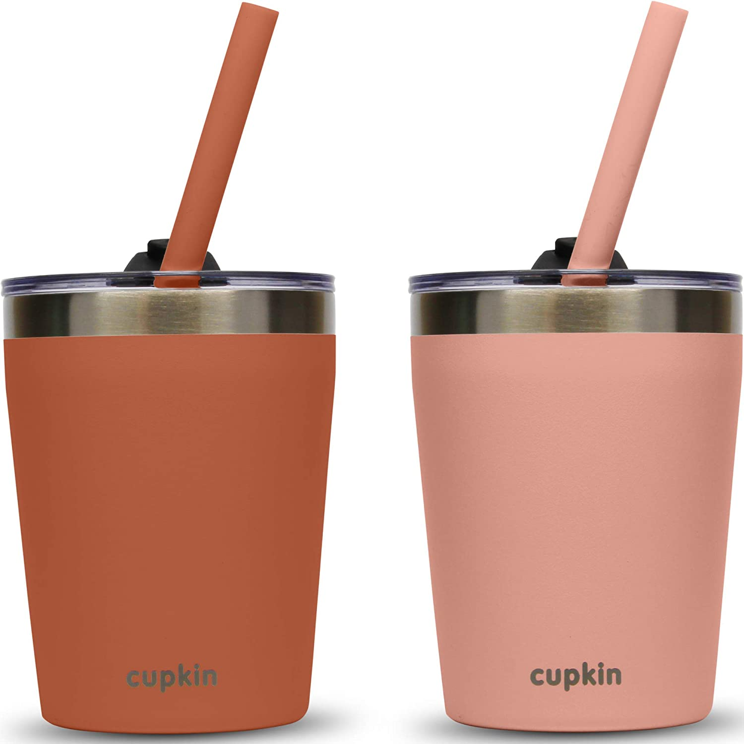 Stackable Stainless Steel Straw Cup for Toddlers (EASY to Clean) - Set of 2 Powder Coated Vacuum Insulated Tumblers, 2 Non BPA Lids & 2 Food Grade Reusable Silicone Straws (Rust + Salmon, 8.5 OZ)
