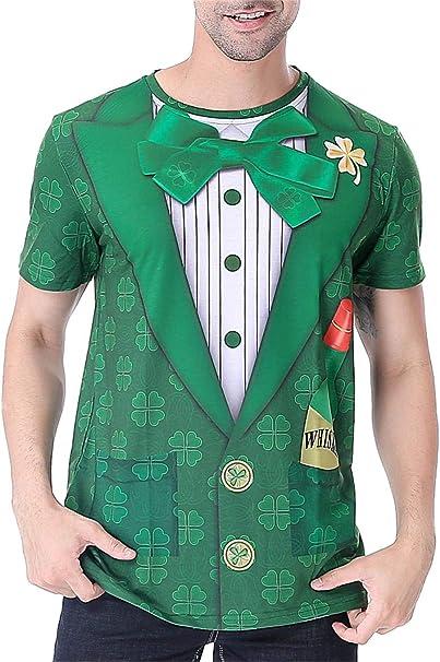 TALLA XXL. COSAVOROCK Disfraz de Leprechaun Hombre Traje de San Patricio Camiseta Verde