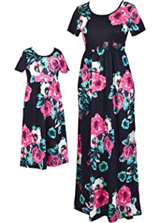 b82dba112 Orianna Mommy and Me Maxi Dresses,Bohemia Floral Printed Matching Dresses  for Daughter