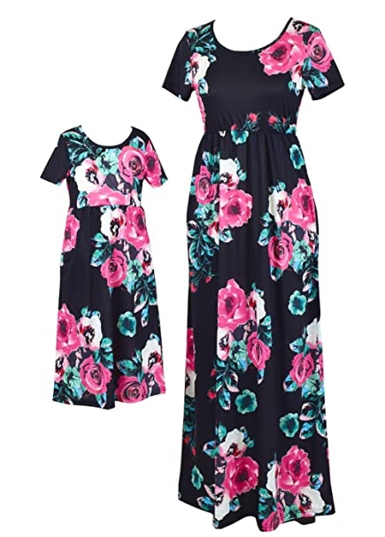 4e47779523722 Qin.Orianna Mommy and Me Maxi Dresses,Bohemia Floral Printed Matching  Dresses for Daughter and Mom