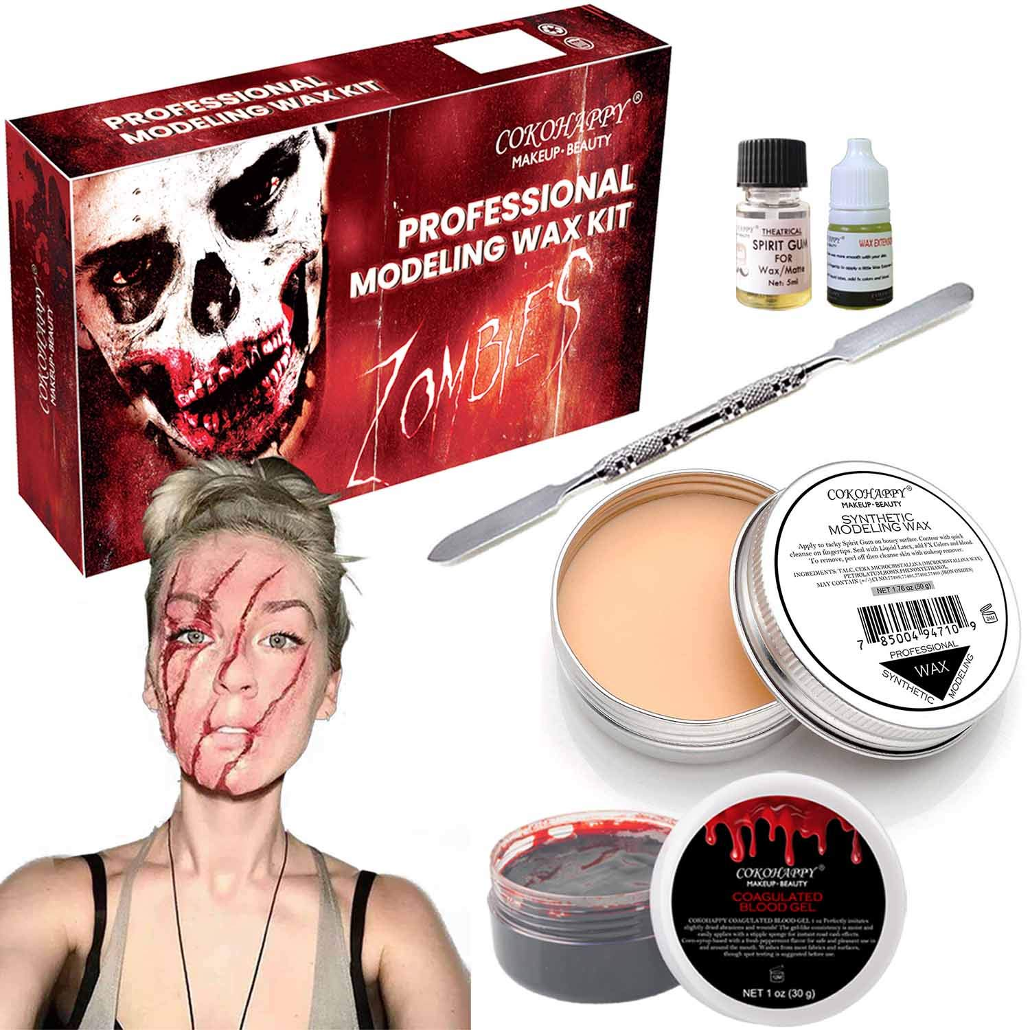 COKOHAPPY Halloween Party Stage Special Effects Wound Scar Nude Color Putty/Wax (1.76oz) + Fake Scab Blood (0.7oz) + Oil (0.17oz) + Spirit Gum Adhesive + Spatula Tool Family Makeup Kit by COKOHAPPY
