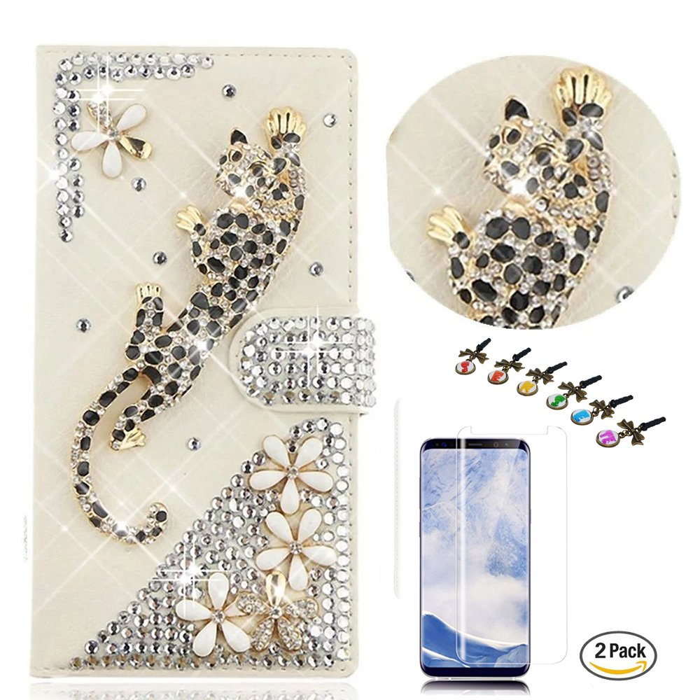 STENES LG K30 Case - Stylish - 3D Handmade Crystal Leopard Flowers Design Wallet Credit Card Slots Fold Media Stand Leather Cover with Screen Protector for LG K30/LG Premier Pro 4G LTE - Gold