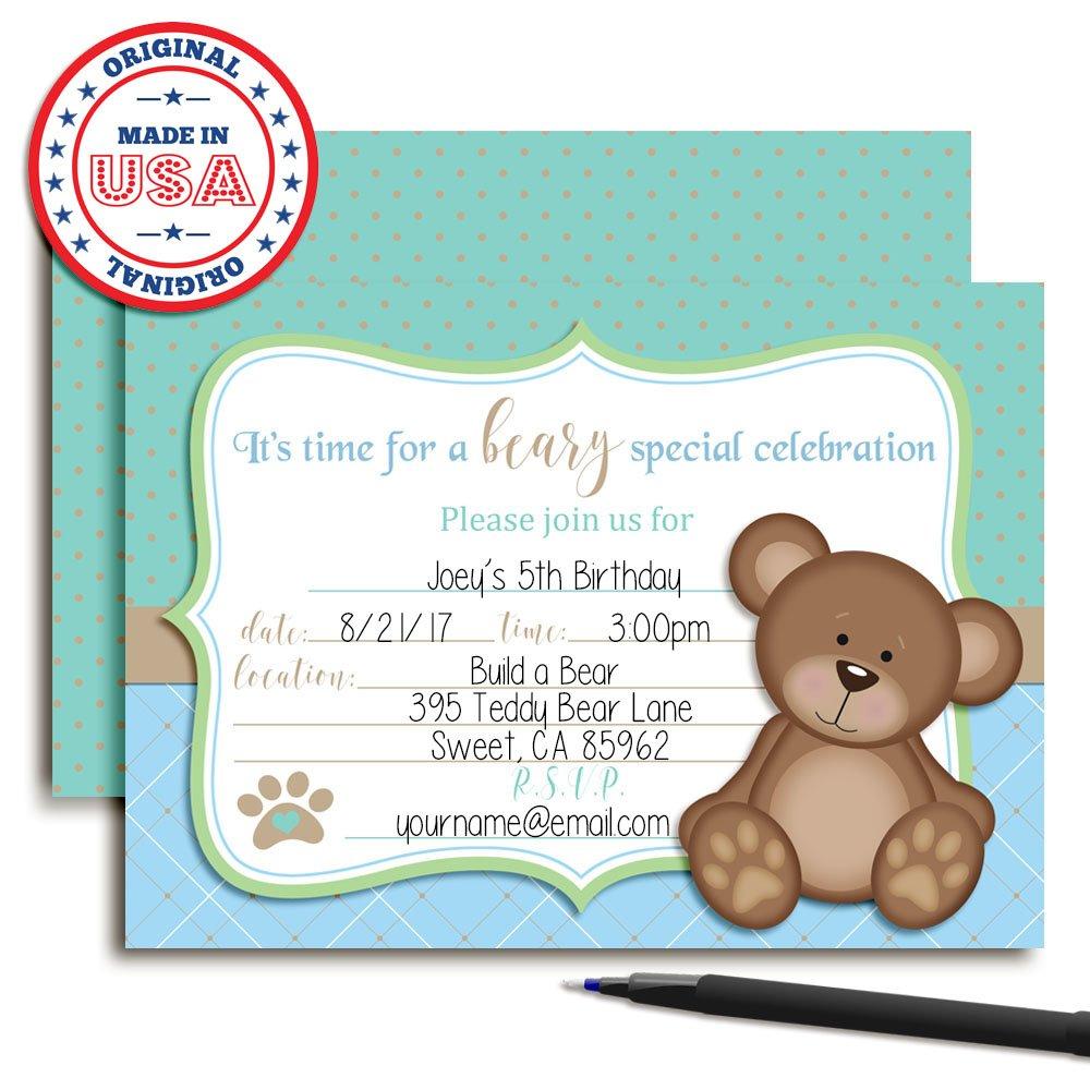 a839d0ba1c0 Amazon.com  Teddy Bear Boy Birthday Party Invitations for Boys