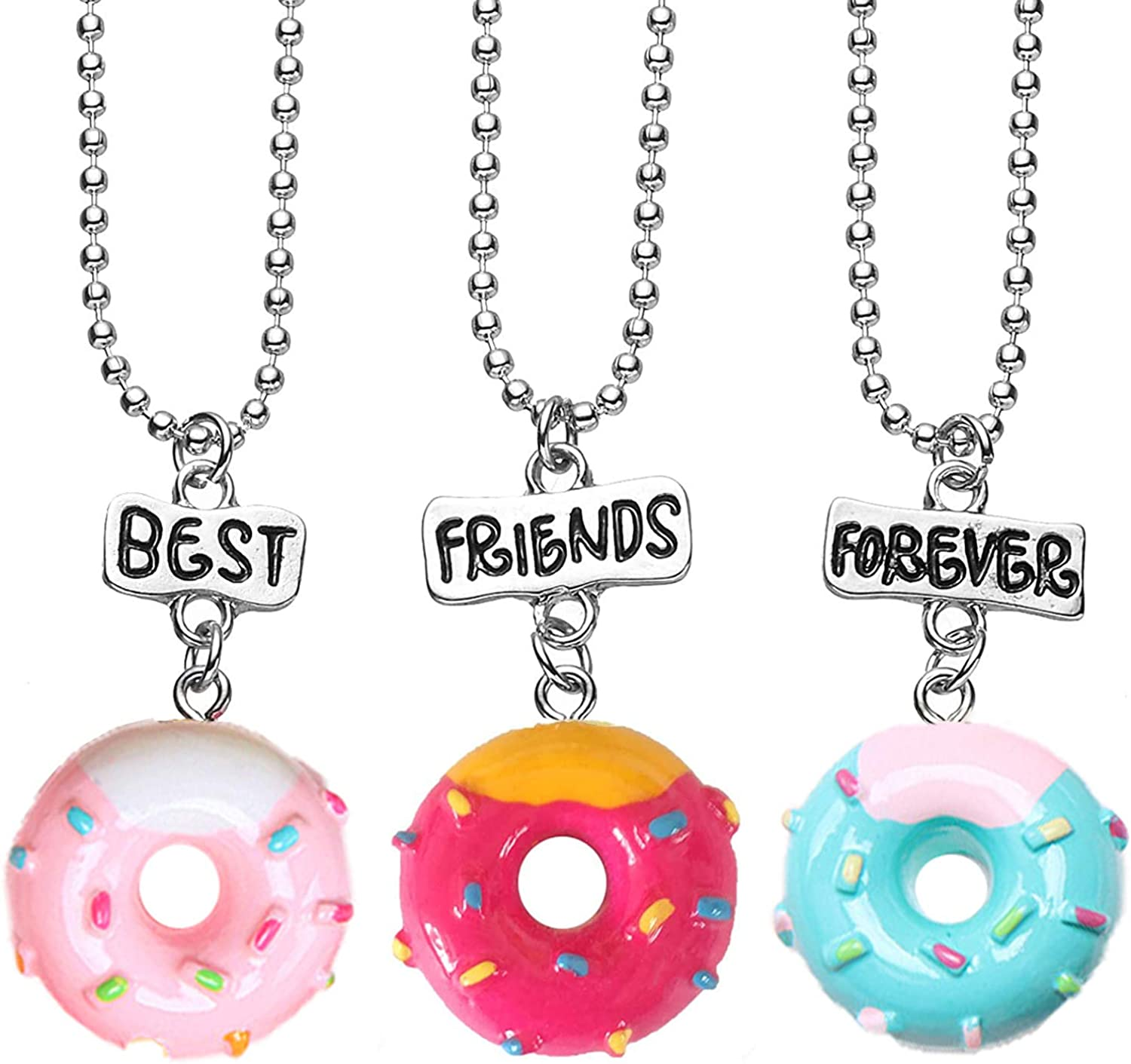 3 Packs Best Friends Forever Resin Pendant BFF Tags Necklaces Set