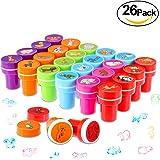 PAMIYO Tampons Enfants, Set de 26pcs Tampons Animaux, Coussins Encreurs de Motif Animaux Multicolore Cachet Auto Encrage Cadeau Jouet Éducatif des Enfants