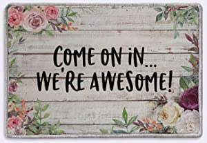 Come on in We're Awesome Entry Doormat Doormat Welcome Rug Mat   Rustic Farmhouse Decor   Housewarming Gifts