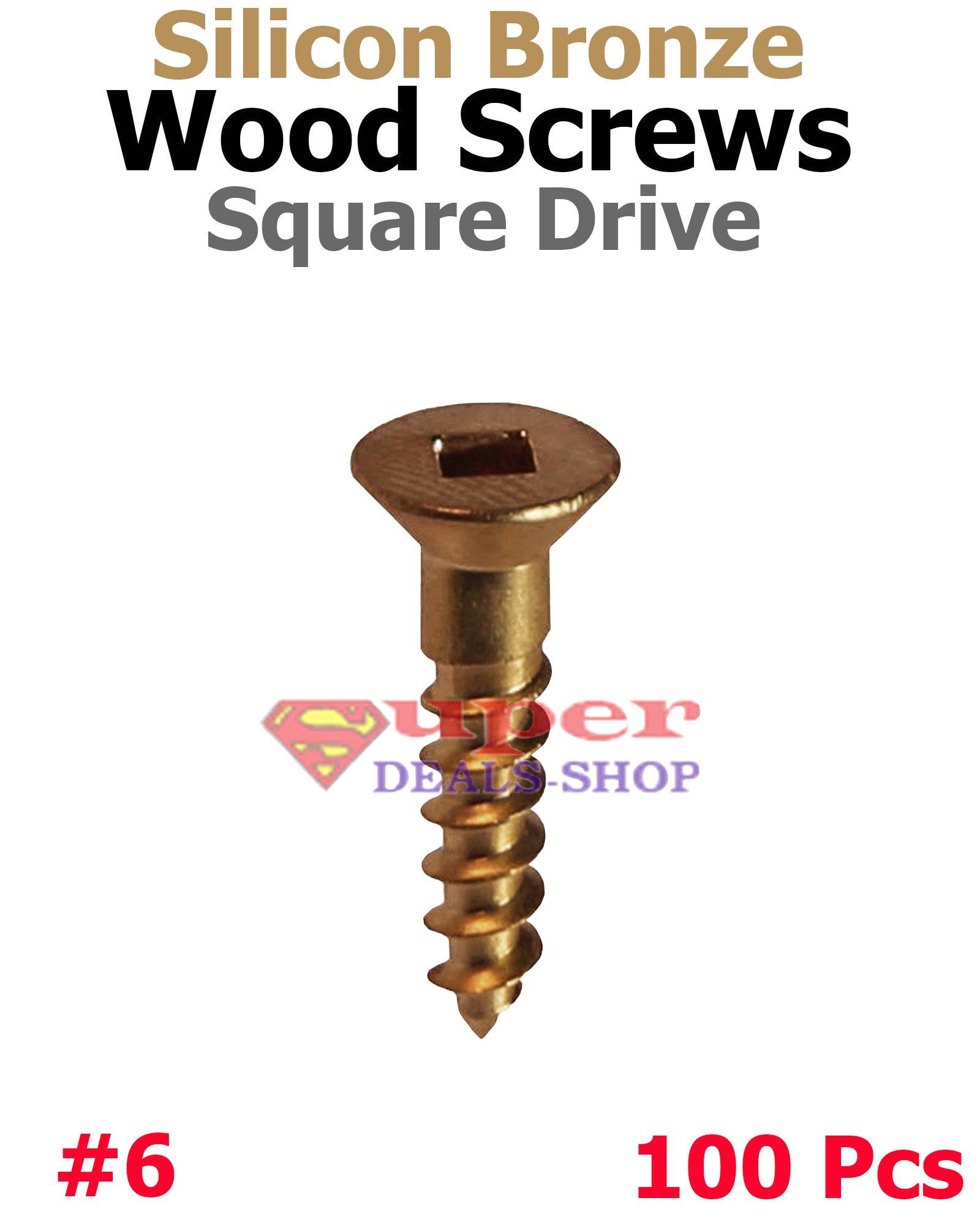 100 Pcs #6 x 3/4' Silicon Bronze Wood Screws Flat Head Square Drive Super-Deals-Shop