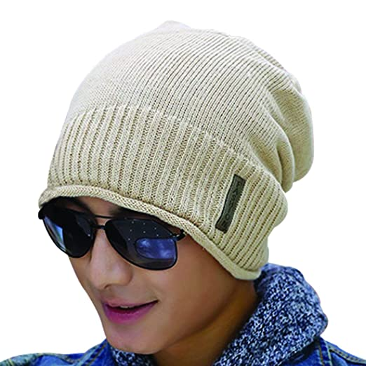 Kafeimali Men Cable Knit Long Beanie Star Cap Winter Skull Ski Hip-hop Wool  Hat 244bc441b5c