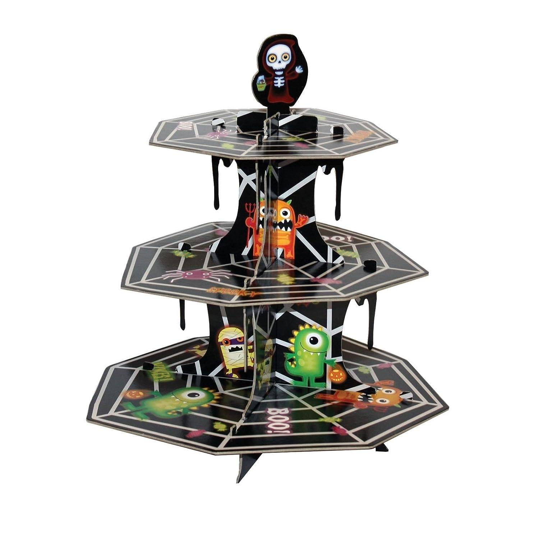 Halloween Boo Monster 3 Tier Cupcake Stand Tableware Decoration Fancy Dress VIP