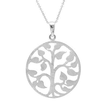 d5b2aae8d5ff Image Unavailable. Image not available for. Color  Silverly Women s .925  Sterling Silver Satin Finish Tree Ivy Leaf Circle Pendant Chain Necklace