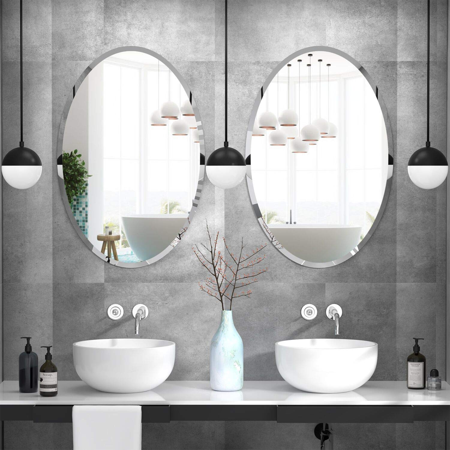 Oval Beveled Polished Frameless Wall Mirror for Bathroom