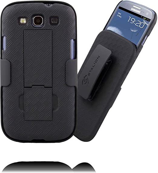 wholesale dealer a5958 53fbf Galaxy S3 Case: Stalion Secure Shell & Belt Clip Holster Combo with  Kickstand (Jet Black) 180° Degree Rotating Locking Swivel + Shockproof  Protection ...