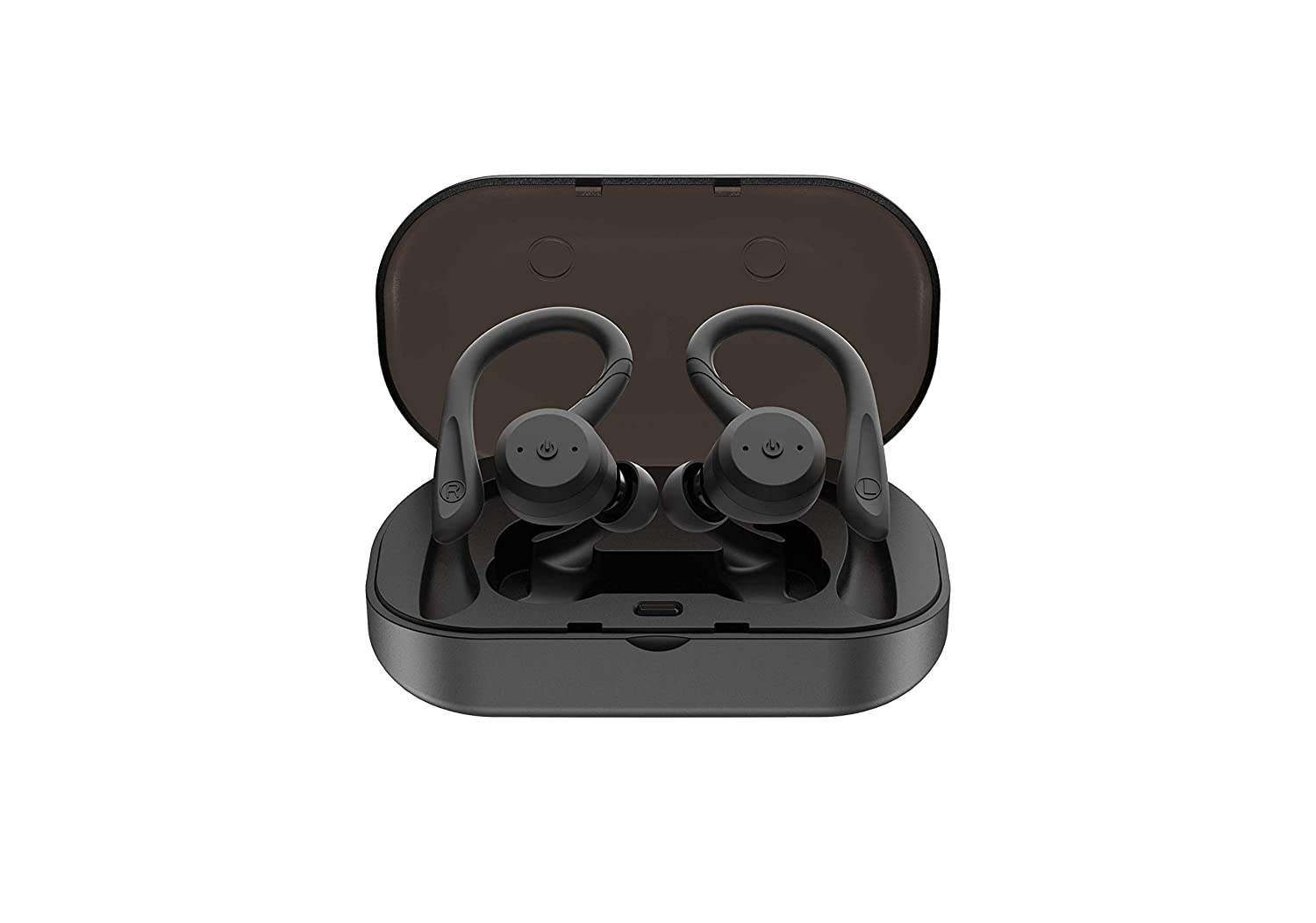 True Wireless Earbuds Bluetooth 5.0 Headphones with Mic HiFi Bass IPX7 Waterproof TWS Stereo Headsets Noise Cancelling Earphones up to 15 Hours with Battery Charging Case Black
