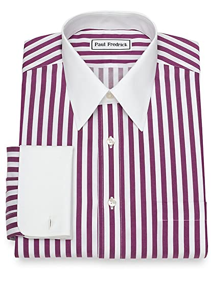 099da1d091895 Paul Fredrick Men's Slim Fit Non-Iron Cotton Stripe French Cuff Dress Shirt  Grape