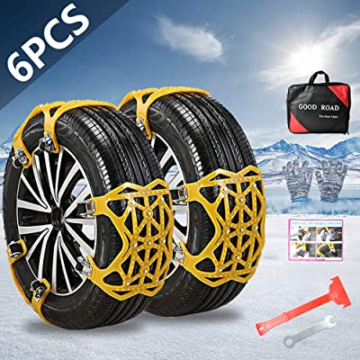 "OTUAYAUTO Car Snow Tire Chains, 165mm-285mm Emergency Anti Slip Adjustable Traction Upgraded TPU Tire Chain, for SUV ATV Truck Winter Universal Tire 6.5"" - 11.2"", 6Pcs: Automotive"