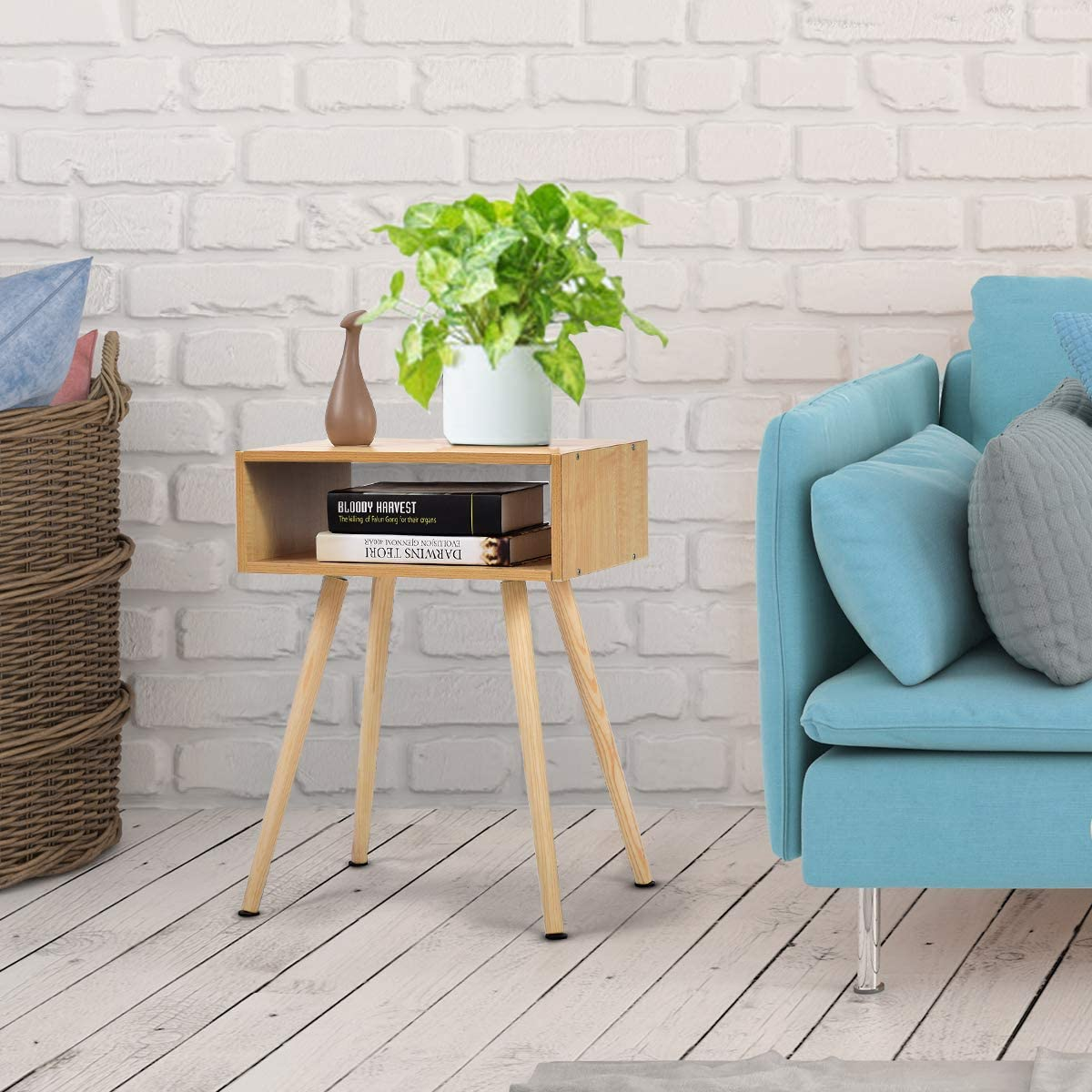 Telefontisch Nachtkommode aus Holz Nachtschrank Flurtisch Natur GOPLUS Nachttisch Flurkommode Ablagetisch Beistelltisch Couchtisch