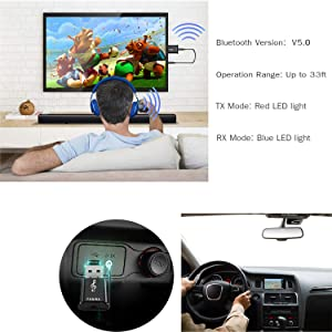 Bluetooth Transmitter Receiver for TV PC Car Xbox Projector CD Player Headphones Speakers, Wireless 3.5mm AUX Adapter 2-in-1 Bluetooth V5.0 Audio Adapter Car Home Stereo Audio System with RCA