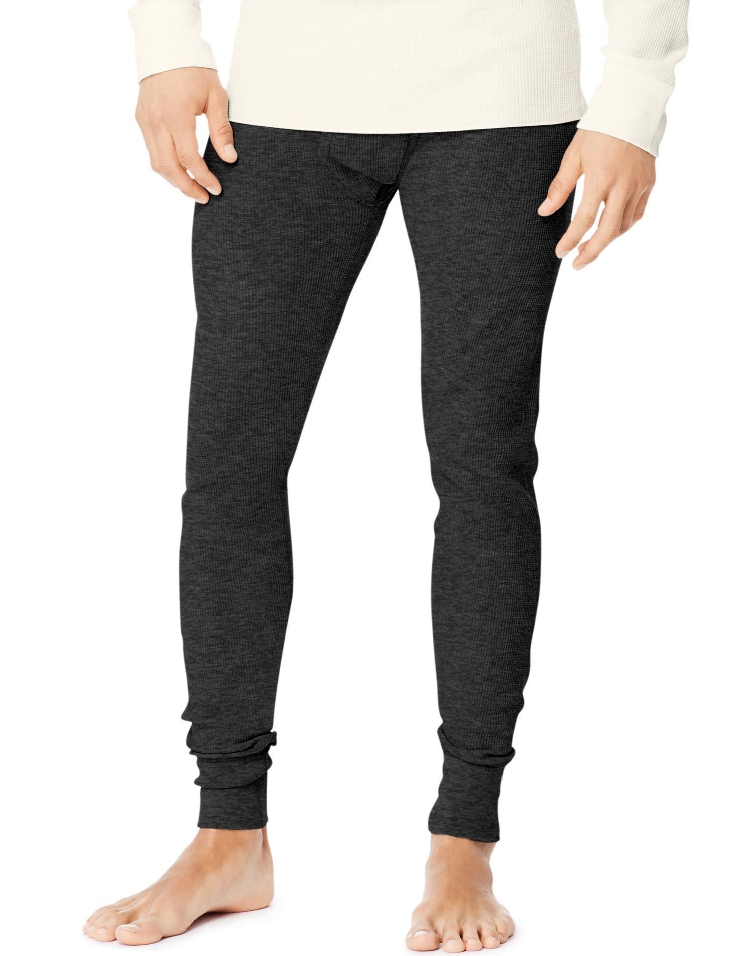 Hanes Men's Tall Size Thermal Pant Bottoms, Medium Tall, Black