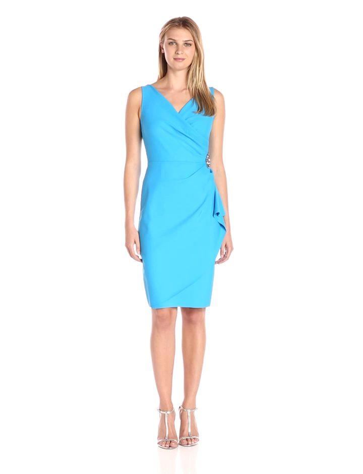 Amazon.com: Alex Evenings Slimming Short Ruched Dress with Ruffle ...