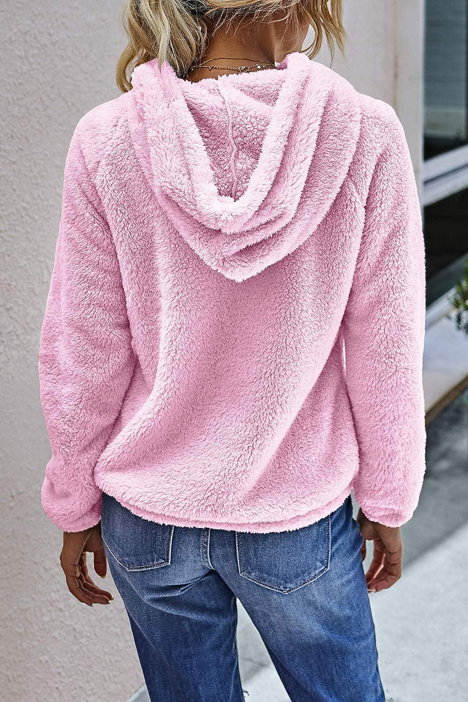 Yanekop Womens Fuzzy Fleece Pullover Button Collar Sherpa Sweatshirt Hoodie with Pockets