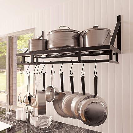 Kes 30-Inch Kitchen Pan Pot Rack Wall Mounted Hanging Storage Organizer  Wall Shelf with 12 Hooks Matte Black, KUR215S75A-BK (Renewed)