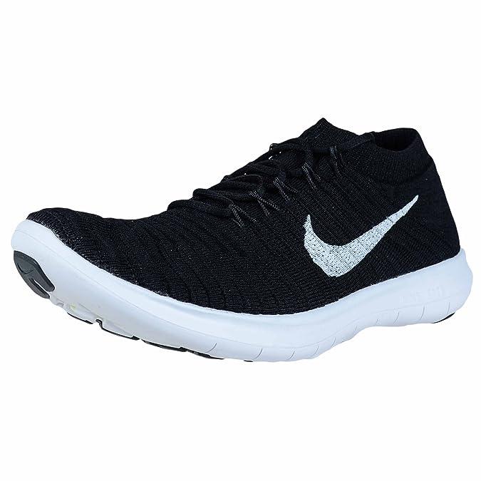 Nike W Free RN Motion Flyknit, Chaussures de Running Femme, Noir (Noir/Blanc-Électrique-Gris Foncé), 39 EU