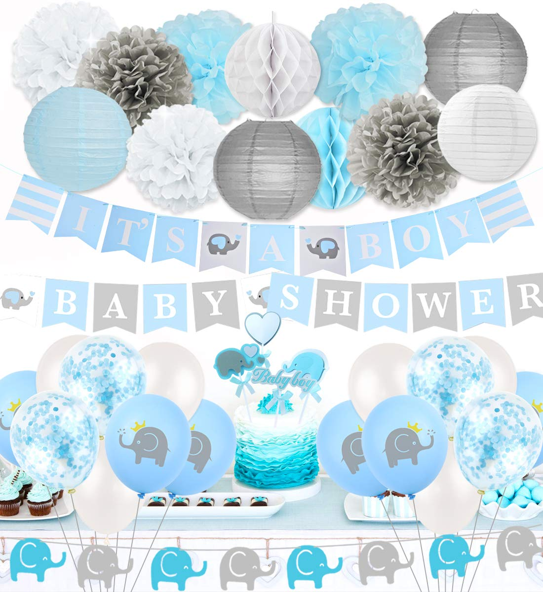 Elephant Baby Shower Decorations Little Peanut Baby Shower Party Supplies Blue with IT' s A Boy Banner Baby Shower Letter Banner and Cake Toppers by Kreatwow