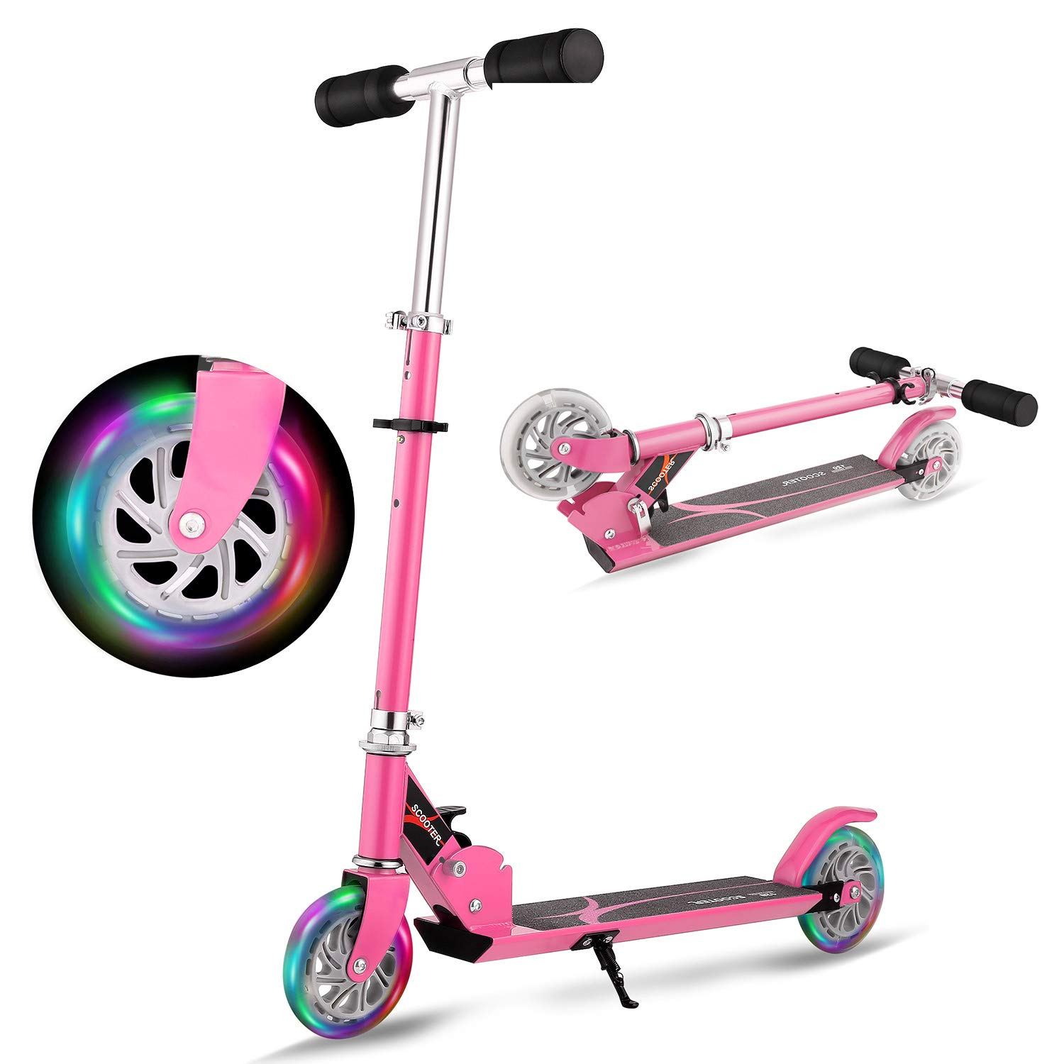 Hikole Scooter for Kids | Scooters Foldable Portable Adjustable Height Kick Scooter with 2 LED Light Up PU Flashing Wheels, Birthday Gifts for Toddlers Boys Girls Kids Age 4-12 Years Old by Hikole