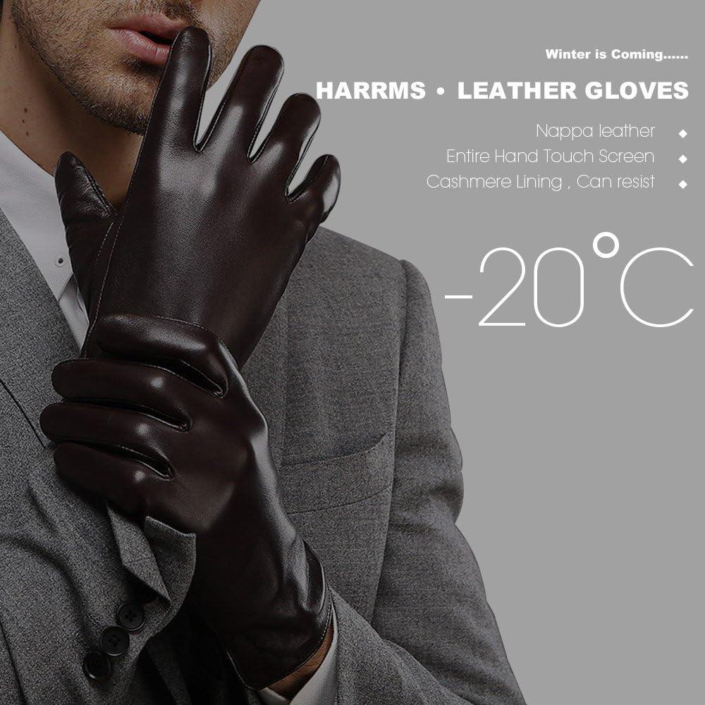 Schwarz//Braun warm gef/ütterte klassische Handschuhe mit Geschenk-Verpackung FLY HAWK Winter Handschuhe aus Echtem Leder Herren Lederhandschuhe f/ür Touch Screen geeignet
