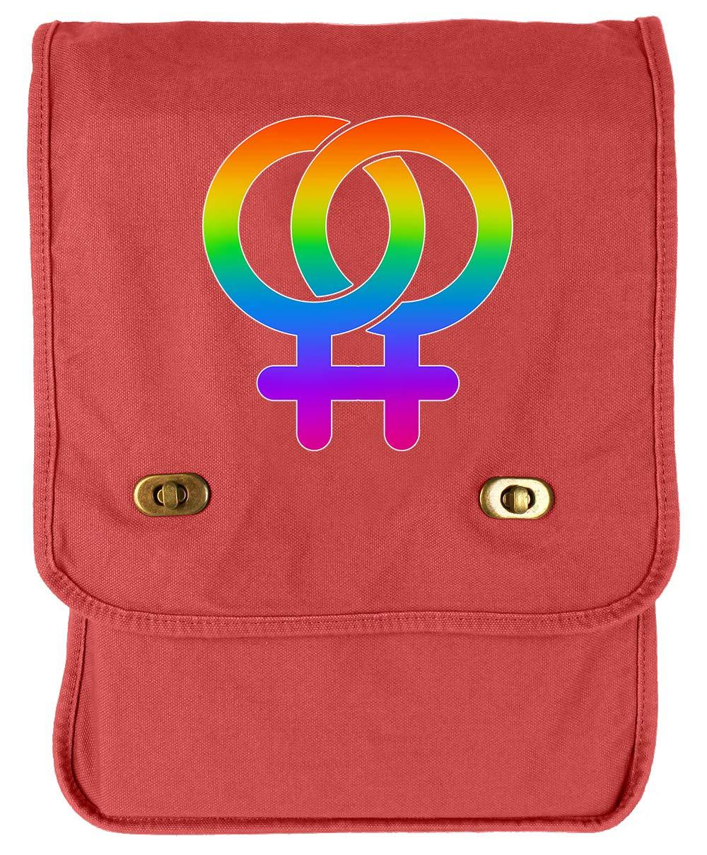 Tenacitee LGBTQ Lesbian Pride Khaki Green Raw Edge Canvas Messenger Bag