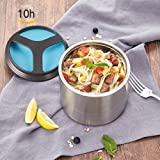 HOMESPON Vacuum Thermoses Insulated Stainless Steel Lunch Boxes Holding Time 10 Hours, Portable Lunch Containers BPA-Free FDA Approved Leak Proof Food Jar for Adults/Men/Women/Work- 35 oz 1L (Blue)