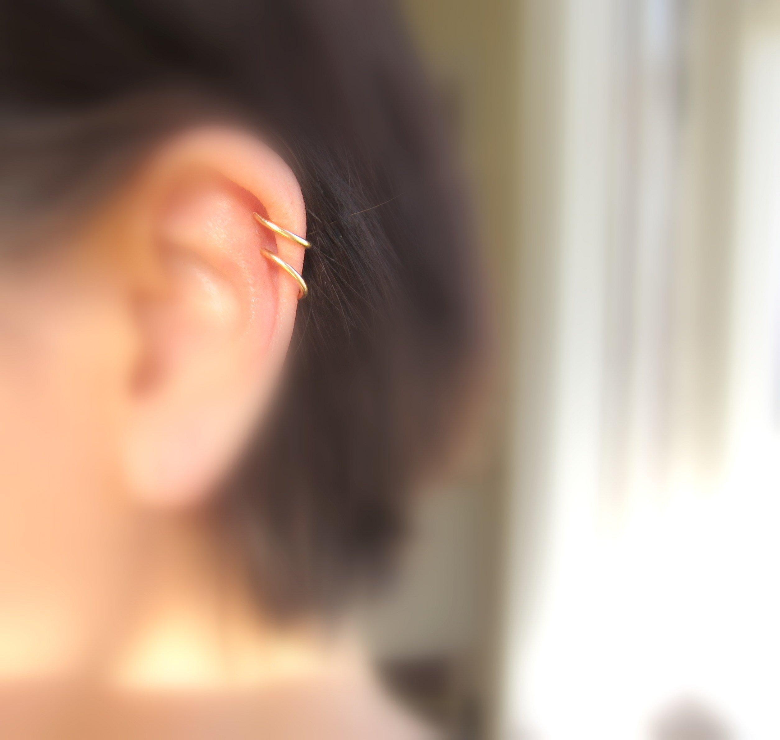 Handmade Solid 14K Gold Cartilage Earrings Gold Hoop Earrings 16Gauge 10mm One Pair