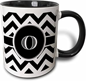 3dRose Black And White Chevron Monogram Initial O Mug, 11 oz