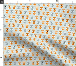 Spoonflower Fabric - Baby Foxes Orange Teal Fox Boy Nursery Animal Woodland Printed on Petal Signature Cotton Fabric by The Yard - Sewing Quilting Apparel Crafts Decor