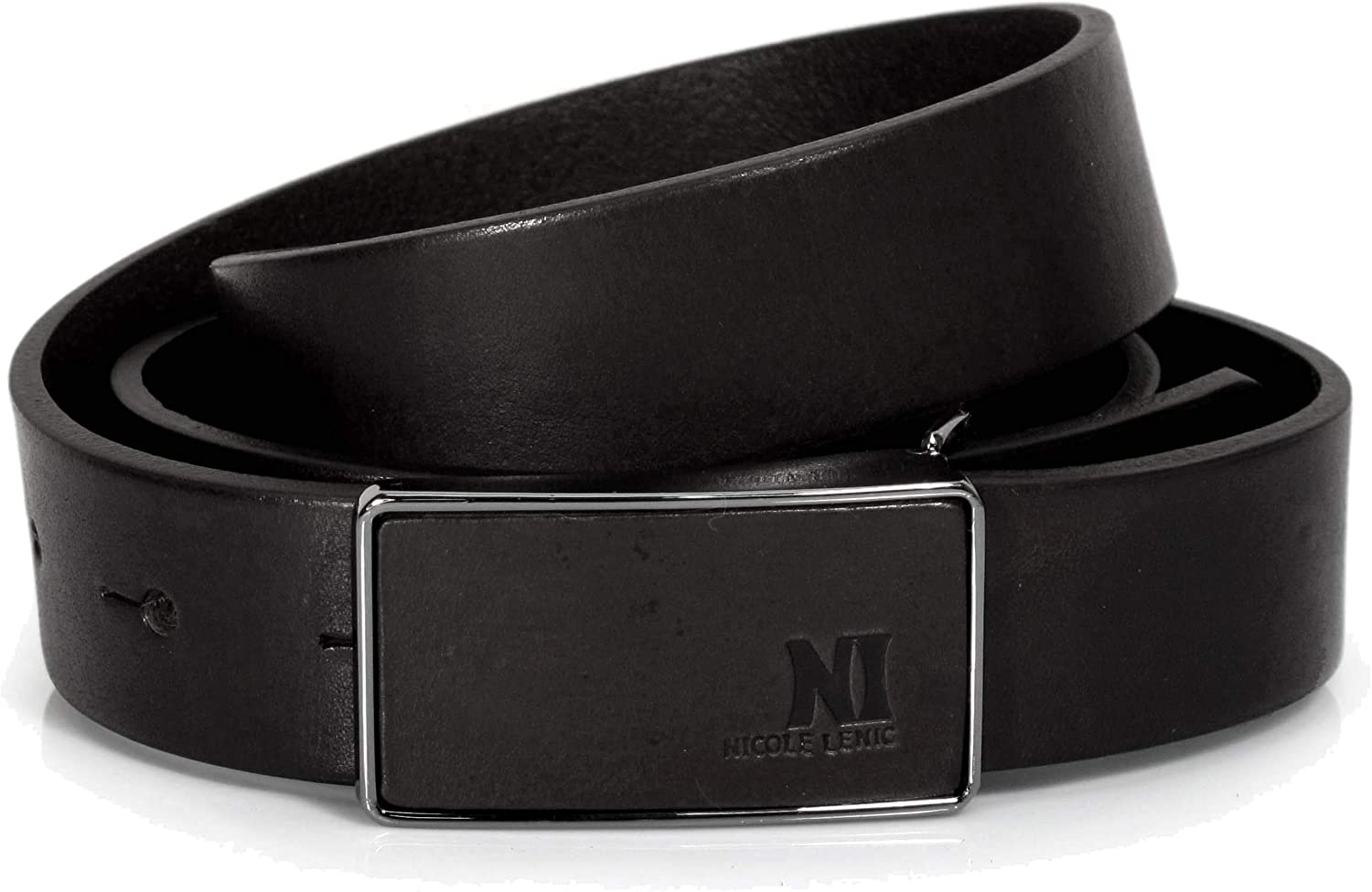 CM5 Mens Real Genuine Leather Black Belt 1.1 Wide S-L Thick Long Casual Jeans