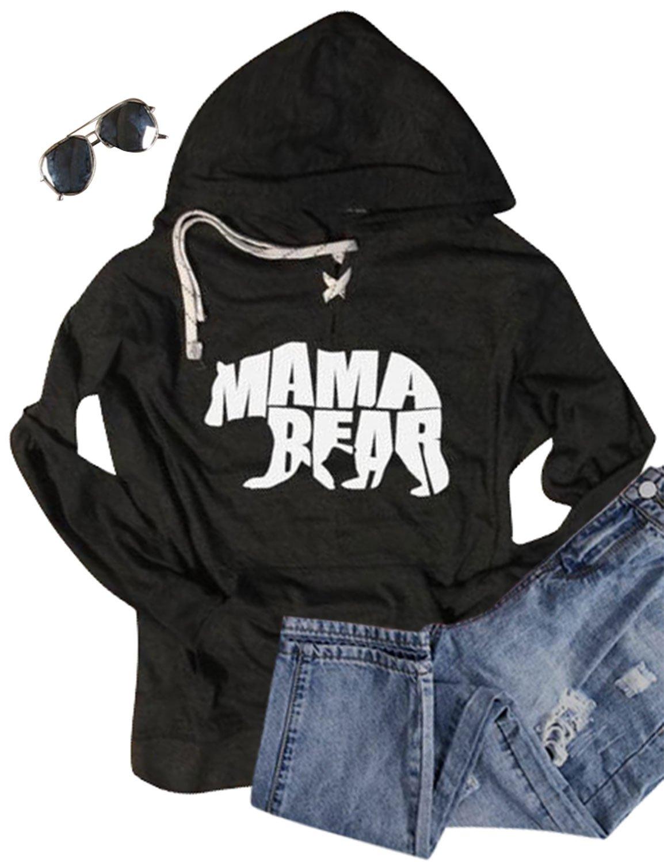 Ezcosplay Women Letter Print Pullover Hooded Sweatshirt with Kangaroo Pockets