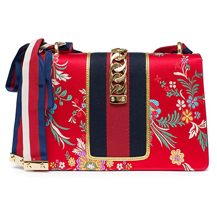 5a8db315958b Amazon.com  Gucci Sylvie Red Jacquard Floral Tokyo Silk Small Bag Ribbon  Leather Handbag New Box  Shoes