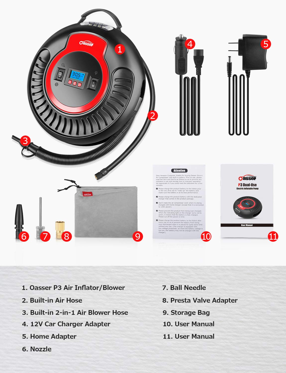 Tire Inflator Oasser Air Compressor Blower Multi-purpose Portable Inflator with 2000mAh Built-in Battery 4 Adapters for Cars Bicycles Balls Air Beds//Mattresses Toys and Other Inflatables 12V P3