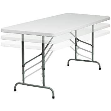 Flash Furniture 30u0027u0027W X 72u0027u0027L Height Adjustable Granite White Plastic