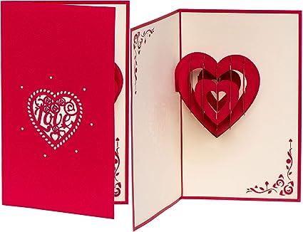 Tarjeta de felicitación en 3D para boda, diseño de corazón con ...