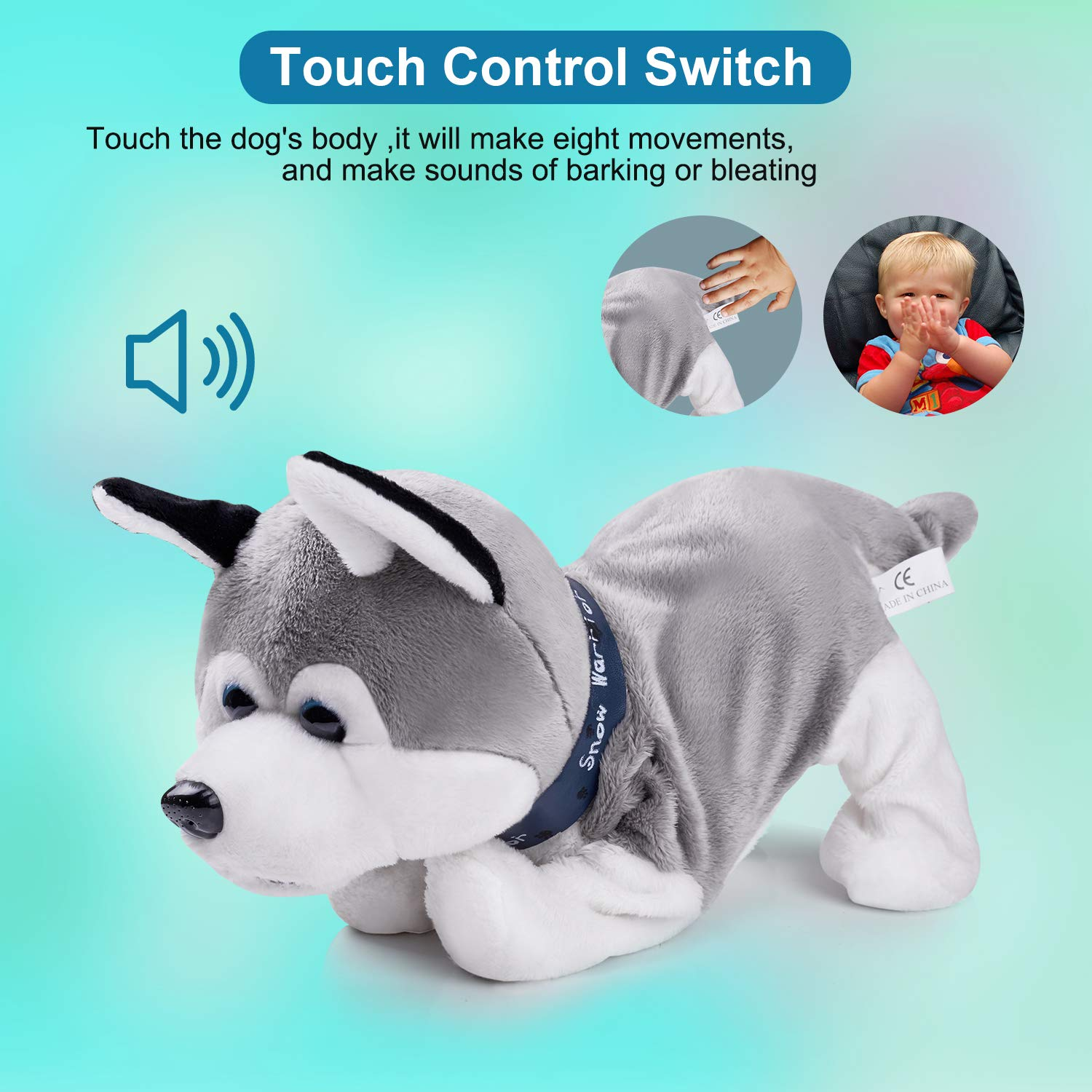 Interactive Puppy Plush Animated Pet Electronic Dog Cute Robot Dog Baby Toys Touch Control Plush Husky Stuffed Animal Dog Toy Toddler kids Girl Toys Tumbling, Clapping hands, Bowing Length 12'' by Marsjoy (Image #3)