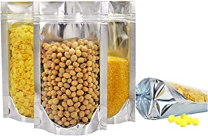 100PCS Resealable Smell Proof Bags with Clear Front Window, Zip Lock Stand Up Aluminum Foil Bags Mylar Food Storage Bags Pouch for Dry Food, Snack, Jewelry, Electronics(4x6+2.4inch)