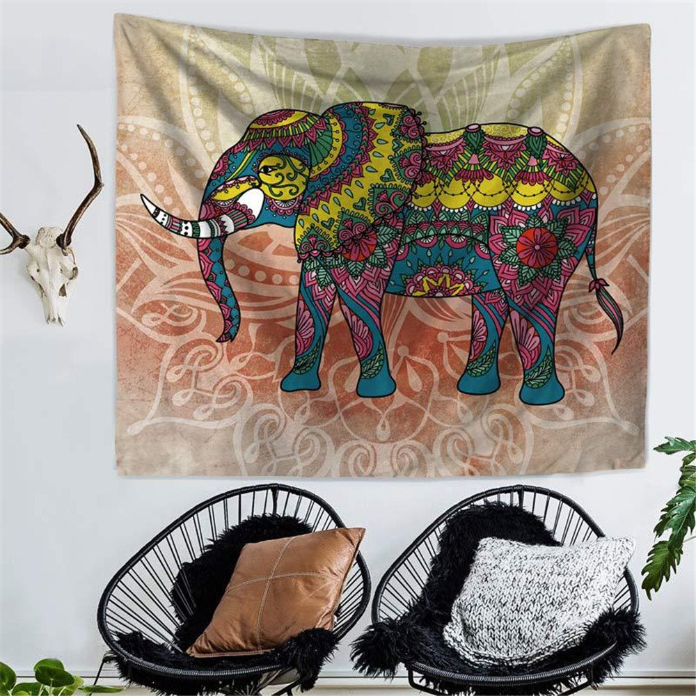 RFVBNM Tapestry,bedspread,Wall murals,Wall Decor Art,bed Cover,Room divider,curtain,tablecloth,Picnic blanket,Elephant Printed Tapestries Decorative Indian Wall Carpet Tapesty,150130cm