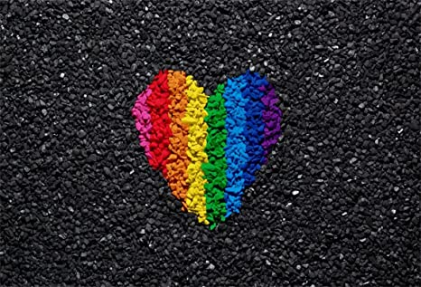 AOFOTO 10x7ft Rainbow Colors Love Heart Pattern On Gravel Background  Fashion Pebble Abstract Stone Shingle Photography Backdrop Valentine's Day  Photo