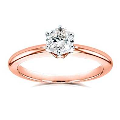 Round Diamond Solitaire Petite Engagement Ring 1 2 Carat in 14k Rose Gold -  4 994268e4f