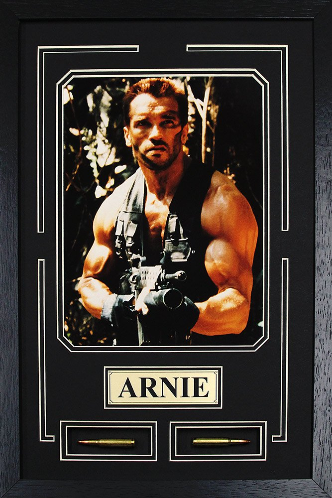 Arnold Schwarzenegger, Arnie, Predator. Framed Photo with Real Bullets and Plate in the Custom Made Modern Black Real Wood Frame (13 x 17.5)